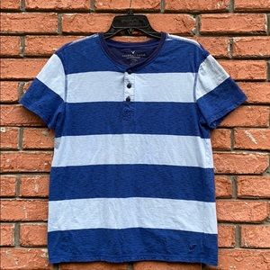 American Eagle Striped Henley T-Shirt Classic Fit